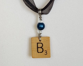 """Wire Wrapped Scrabble Tile Initial """"B"""" Necklace Jewelry for Women Free Shipping Jewelry Monogram Necklace"""