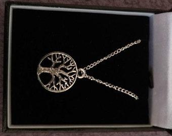 handmade tibetan silver tree of life pendant necklace