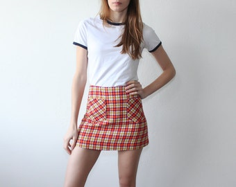 60s Mini Skirt // Vintage Micro Mini High Waist Houndstooth Plaid Schoolgirl 70s - Extra Small xs