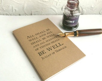 All Shall Be Well Plain Page Notebook   Quotation Typography Doodle Book   A6 Kraft Journal, Recycled Paper   Literary Quote Sketch Book