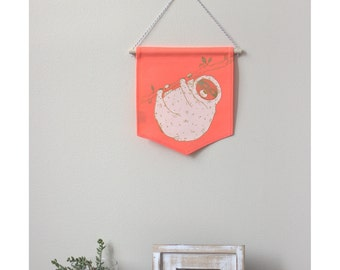 2 colors wall banner, happy sloth, wall deco, kids room decoration, art, baby gift, newborn gift, it's a boy
