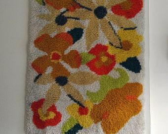 1970's Vintage Floral Shag Rug