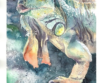 Green Iguana watercolor artwork