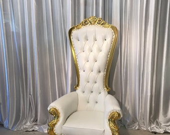 Throne Chair White with Gold Trim