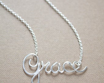 Tiny Name Necklace Sterling Silver Personalized Name Necklace Personalized Jewelry Bridesmaids Gift Mother's Day Gift Custom Name Necklace G
