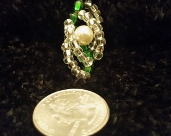 Forest Green Spiral Pendant Necklace with Glass Pearl