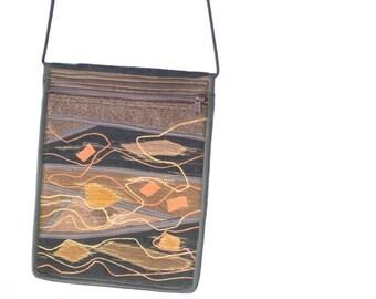Crossbody Bag, Coral ornaments, Small Shoulder Bag, Travel Purse zipper, fits ereaders, iPad Air2