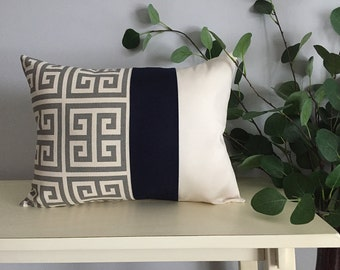 Decorative Pillow Cover, Color Block Pillow, Pillow with Blue Stripe and Greek Key Pattern