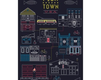 Fishtown, USA - Intricate Digital Line-Art Print