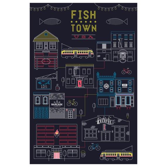 Fishtown usa intricate digital line art print for Fish town usa