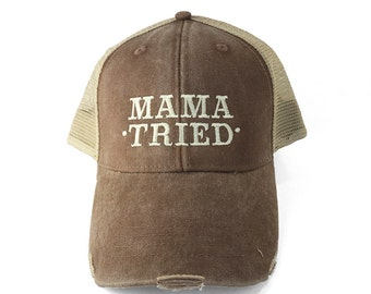 Mama Tried Dad Hat, Mesh Snap Back Cotton Baseball Hat, Embroidered Hat, Trucker Hat, Women's Country Hat