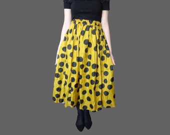Vintage yellow midi, 50s midi skirt, polka dot skirt, yelow midi skirt, yelow polkadot skirt, banaa yellow skirt, XS S M midi skirt