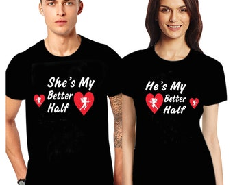 Valentine's day couple matching T Shirts She's my better half He's my better half cupid Tee Love heart