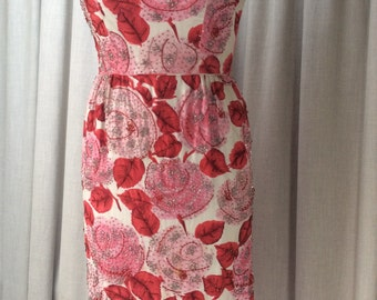 1950's Rose printed heavily beaded fine cotton dress  Label : Malcolm Starr