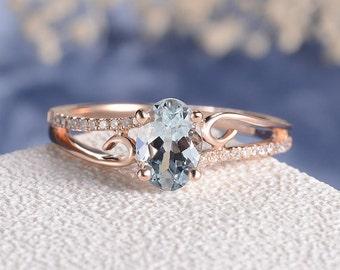 Aquamarine Engagement Ring Rose Gold Women Antique Unique Curved Wedding Bridal March Birthstone Butterfly Diamond Anniversary Vine retro