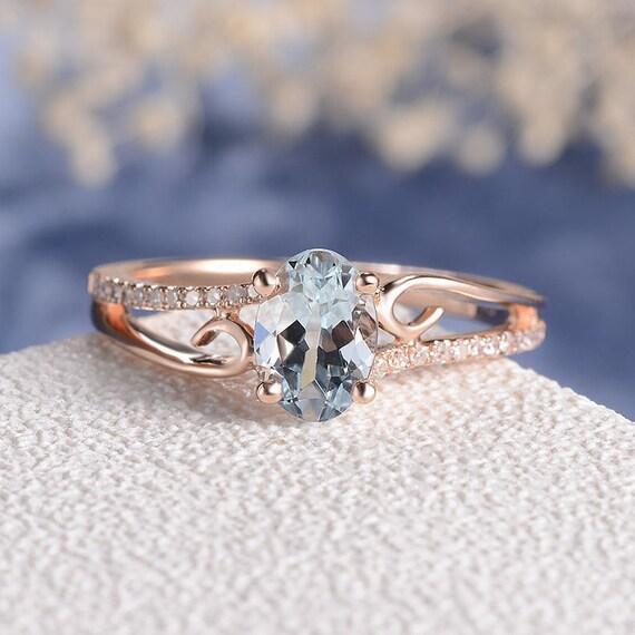 Aquamarine Engagement Ring Rose Gold Women Antique Unique