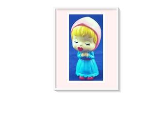 Kissing Bobble Head Doll Art Print, Printable Vintage Nursery Wall Art, Vintage Printable Art Instant Download Retro Bobble Doll, Fun Art