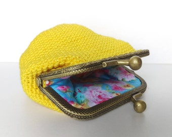 Vintage style Yellow coin purse with kiss lock metal frame, womens wallet, little clutch, floral, gift for her, gift for mother in law