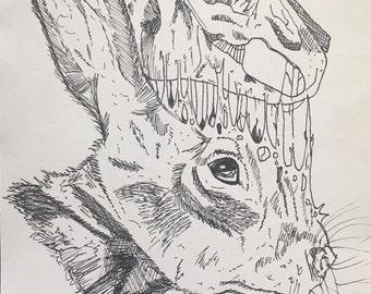 Rabbit Skull Print