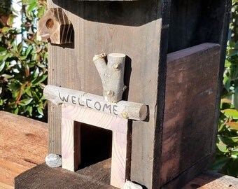 Rustic Birdhouse Bird FeederReclaimed Wood hand made Welcome from CA!
