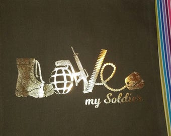Love My Soldier Bag- Shopping bag - Reusable Grocery Bag - Market Tote - Army Wife Bag