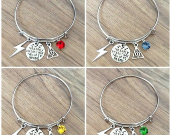 I Solemnly Swear That I Am Up To No Good Harry Potter Bangle Charm Bracelet With Swarovski Hogwarts House Color