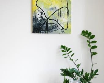 Abstract painting 'Ineffability' ORIGINAL, Acrylic on canvas, FREE SHIPPING, yellow, black, grey