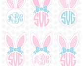 Bunny  Ears Monogram, Easter Cuting files, Bunny Ears SVG Files , Easter, Cricut,  Instant download Files #030-S
