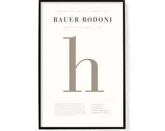 "Bodoni Poster, Screen Printed, Archival Quality, Wall Art, Poster, Designer Gift, Typography Print, 24"" x 36"""
