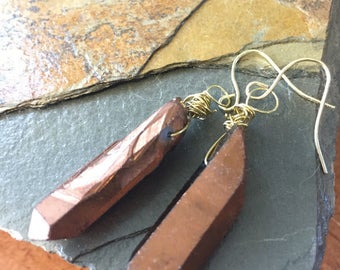 Copper Rock Dangle Earrings