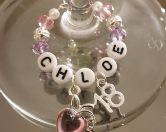 18th Birthday Wine Glass Charms - Personalised, Perfect for any Cocktail, Champagne or Stem Glass, Gorgeous Gift, Fabulous Party Favour