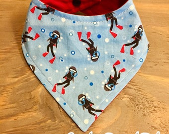 Baby Bandana Bib, Cool 2 Drool Bib, Baby / Toddler Bandana Bib, Drool Bib, Stylish, Diver, Deep Sea, Scuba, Underwater, Fish, Snorkeling