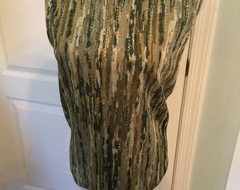 Vintage St. John Sleeveless Green Metallic Top