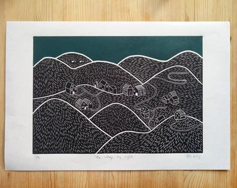 The village by night - limited edition (9) linocut print