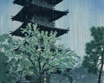 "Japanese Art Print ""Pagoda in Evening Rain (Yanaka, Tokyo)"" by Kasamatsu Shiro, woodblock print reproduction, asian art, cultural art, rainy"