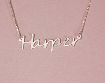 Mens name necklace men nameplate necklace silver name necklace for him name necklace for men harper name necklace