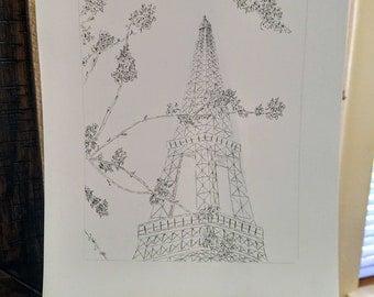 Eiffel Tower Pen Sketch