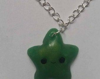 Necklace star green glitter kawaii