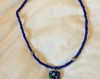 "Cobalt millefiori glass pendant necklace, 18"""