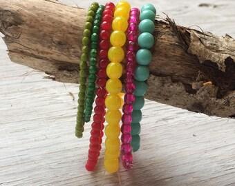Glass Bead Strand bundle -  6 strands of Czech glass beads bright mix (ST16)