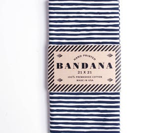 Summer SALE! Navy Blue Striped Bandana, Hand Screen Printed and Soft