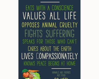 This Home Eats with a Conscience (Go Veg!) Window Poster