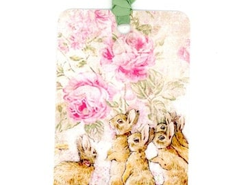 Rabbit Gift Tags , Beatrix Potter Tags , Vintage Rabbits , Rabbits and Roses , Baby Shower Tags , Baby Gift Tags , Green and Pink