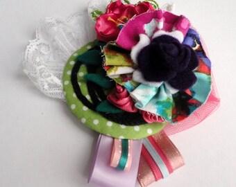 Felt and Fabric Flower Pin-Bohemian Surprise