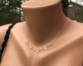 Herkimer Diamond Crystal Necklace, Solid Sterling Silver, Clear Quartz Crystals, Herkimer NY, 17.5 Inch Long, Genuine Gemstone, Real Natural