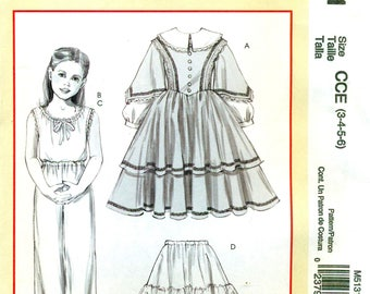 McCalls 5131 Historical Costume Pattern Dress Petticoat Pantaloons Camisole Size 3 4 5 6 Civil War ©2006 Spanish & English Instructions