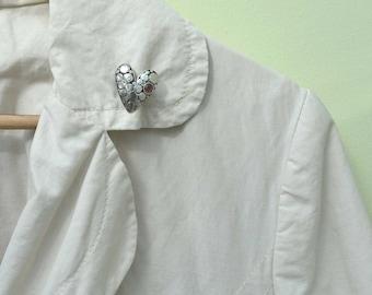 Silver Heart Brooch, SUE B. Pin, Sterling Silver Brooch, Pebbled Brooch, 1950s Brooch, Ruby Gem Brooch, Sue. B. Brooch, Vintage Pin Brooch