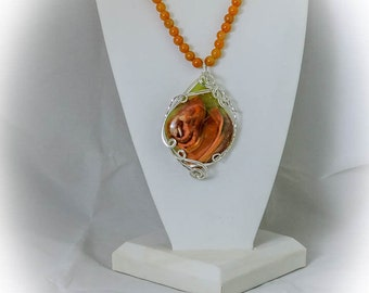 Orange Calcite and Onyx Necklace, Earrings, and Pendant Set