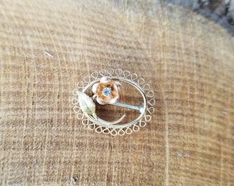 1980s, Diamond Pin, Diamond brooch, Rose Gold Brooch, Yellow Gold pin, Yellow Gold Brooch, Gold Filigree, Flower pin, flower brooch