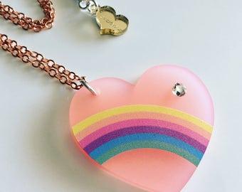 "Pink Rainbow Heart  ""darling sweet life"" 2017 laser cut silkscreen print necklace, plexiglass, acrylic, perspex"